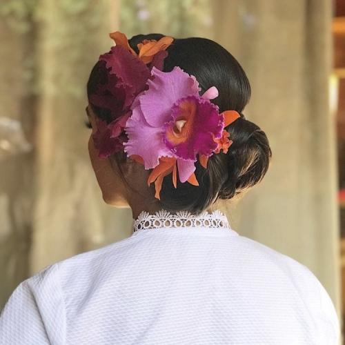 Grinalda orquídea rosa