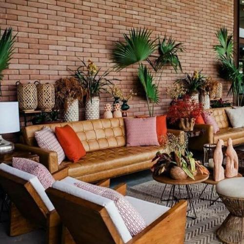 Decoração Lounge com sofá de couro