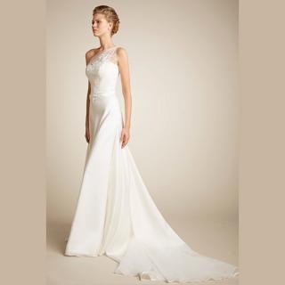 Vestido de noiva em seda e organza
