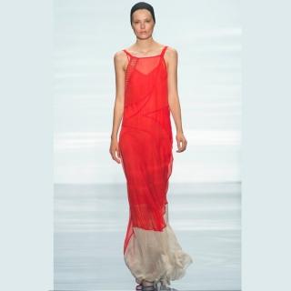 Vestido longo vermelho com barra off white