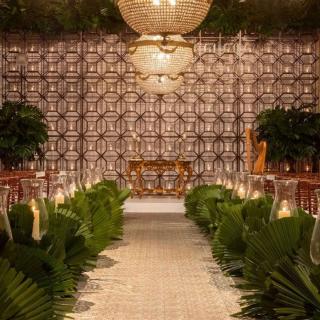 Cerimônia com nave de palmeira Leque