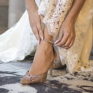 Sapatos da Noiva Nude com Strass